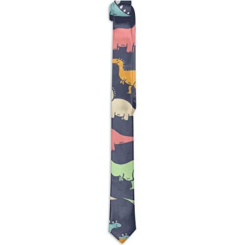 Paedto Corbatas para hombres regalos de Año Nuevo corbata de seda ajustada para hombres novedad de moda divertida corbata de dinosaurios para cena fiesta boda