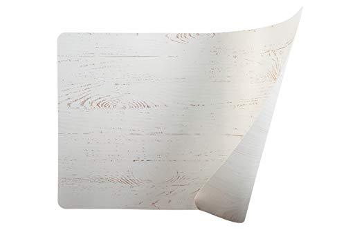 Wood - Juego de 6 manteles Individuales Blancos de Doble Cara, 45 x 30 cm, de plástico