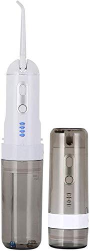 XUERUIGANG Flosser de Agua, Flosser de Agua portátil multifunción, Carga USB, IPX7 Impermeable, 5 Puntas de reacción, 3 Modos de Limpieza, irrigador Oral Dental para Viajes en el hogar, Gris