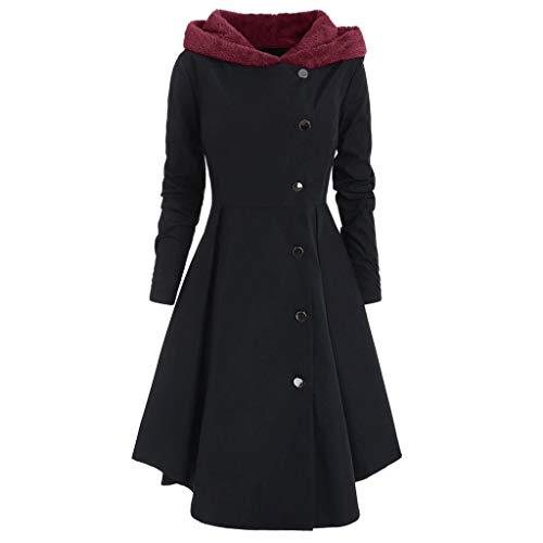 MYMYG 2019 Gotische Kleidung Damen Steampunk Schwalbenschwanz Langen Grabenmantel Mantel Edler Steampunk Uniform Kostüm Party Outwear Mantel Long Gothic Mantel Pulloverkleid (2 Schwarz, EU:46/CN-4XL)