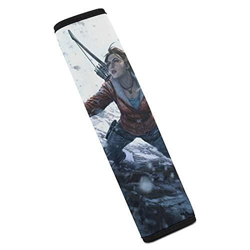 Lara Croft Tomb Raider GameCar - Almohadillas de protección para cinturón de seguridad, suaves y cómodas, para cinturón de seguridad y hombros
