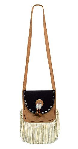 Generique - Indianer-Handtasche Kostümzubehör für Erwachsene beige-schwarz
