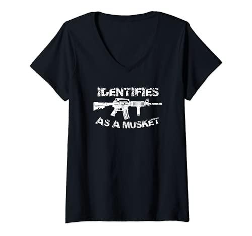 Mujer AR15 Identifica como un Mosket Pro Gun Anti Liberal Regalo 2A Camiseta Cuello V