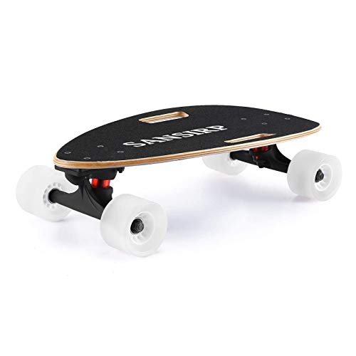 Wheelive Short Longboard Skateboard Complete, Portable Wide Small Wood Skateboards Cruiser with Precision Bearings and LED Wheels for Adults and Kids