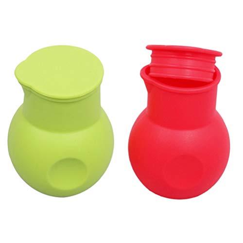 Upkoch 2 Silikon-Schmelztöpfe für Schokolade, Buttermilch, Schmelztöpfe, Mikrowellen-Backwärmer, Töpfe für Bäckerei, Küche (rot und grün) 9*5CM rot / grün