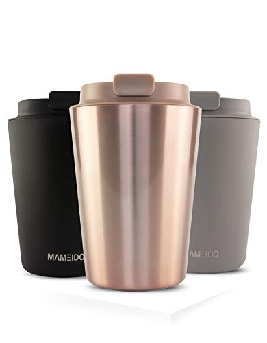 MAMEIDO Thermobecher Edelstahl isoliert 350ml Rosé Quartz - Kaffeebecher to go, auslaufsicher, Coffee to go Becher