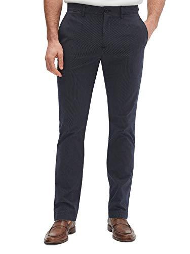 BANANA REPUBLIC Mens Aiden Slim Fit Casual Chino Pants Navy Blue Mini Pin Striped (38W x 32L)