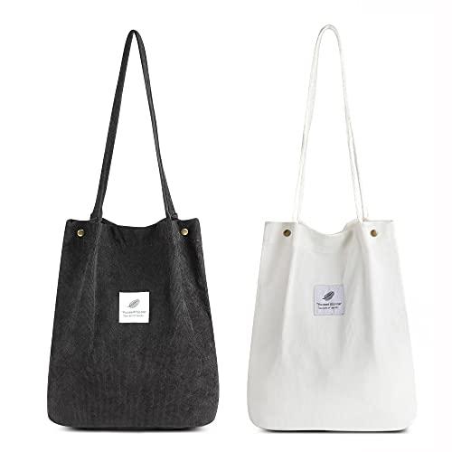Makukke Bolso de Hombro para Mujer - Bolso de Pana de 2 Piezas Bolso de Hombro para Mujer Bolso con asa para Mujer para Viajes Diarios, de Oficina, Escolares y de Compras