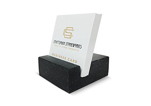 Square Business Card Holder Black Absolute Granite