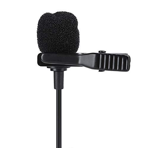 Goshyda Micrófono, Portátil Micrófono Lavalier Doble Clip de Corbata Omnidireccional Profesional Mini Micrófono Lavalier de Audio con Interfaz de 3.5mm para Cámara de Smartphone