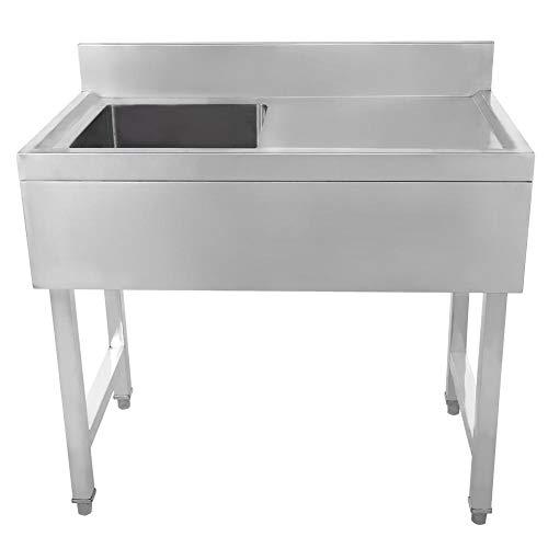 Fregadero de mano para preparación de cocina comercial de un solo tazón DuraSteel, ideal para restaurante, bar, hogar, cocina, lavandería 90 * 50 * 80 + 10 cm (piscina interior 35 * 35 * 24 cm)