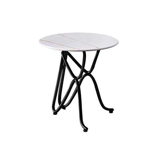 Tables Sofa Side Slate Tabletop Balcony Small Round With Metal Frame For Living Room Bedroom, White(Size:50cm)