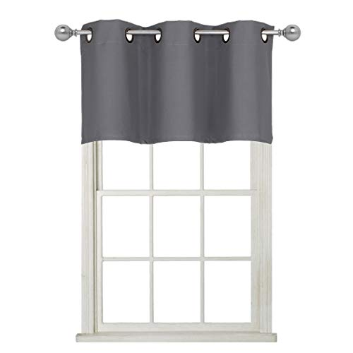 Home Queen Grommet Top Blackout Curtain Valance Window Treatment for Living Room, Short Straight Drape Valance, Set of 1, 37 X 18 Inch, Charcoal