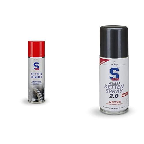 Dr. Wack 2360 - S100 Kettenreiniger 300 ml I Premium Motorrad-Kettenreiniger & S100 Weißes Kettenspray 2.0 100 ml I Premium Motorrad-Kettenöl für noch weniger Reibung & Verschleiß