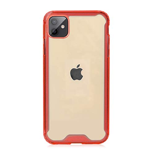 Krichit Shockproof Case for iPhone 11 Pro Clear Case Hard PC Back Anti-Scratch, Soft TPU Bumper, Protective Cover for iPhone 11 Pro (Red)