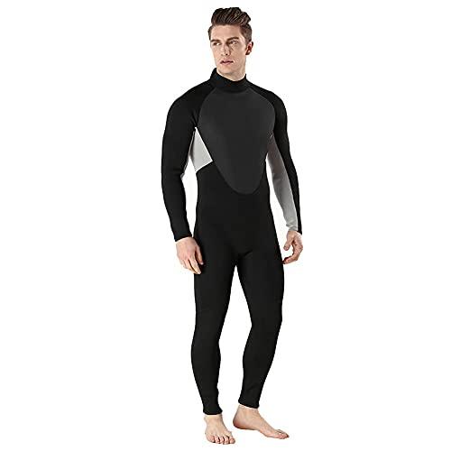 NZKW Trajes de Neopreno para Hombre Trajes de Buceo de Neopreno de 3 mm Traje de Buceo de Cuerpo Completo Traje de Neopreno con Cremallera Trasera para Buceo Snorkel Surf Natación, Gris