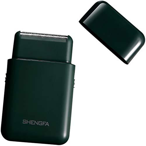 HEALLILY Máquina de afeitar eléctrica de viaje portátil impermeable rotativa de afeitadora recargable para hombre kit de aseo verde