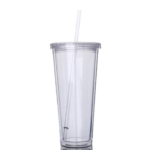 Taza portátil de Viaje de 650 ml con Paja, Botella de Agua de Jugo de Fruta de plástico Deportivo, Taza sellada, plástico de Doble Capa