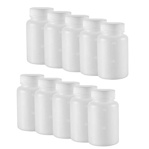 uxcell Plastic Lab Chemical Reagent Bottle 100ml/3.4oz Wide Mouth Sample Sealing Liquid Storage Container 10pcs