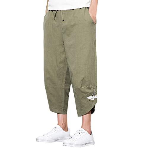 Pantaloni Larghi al Polpaccio in Cotone e Lino Ricamati per Il Tempo Libero di Moda Estiva da Uomo (4XL,Army Green)