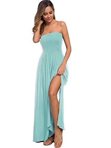 Womens Summer Strapless Tube Top Boho Maxi Dresses (M, Mint)