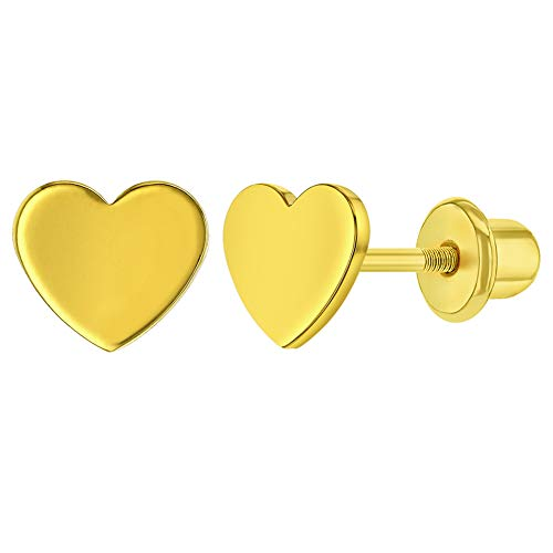 Gold Plated Plain Heart Screw Back Earrings for Babies, Infants, and Toddlers - Plain Love Heart Screw Back Girls Earrings - 100% Safe for Children with Sensitive Ears - Lightweight Jewelry for Kids