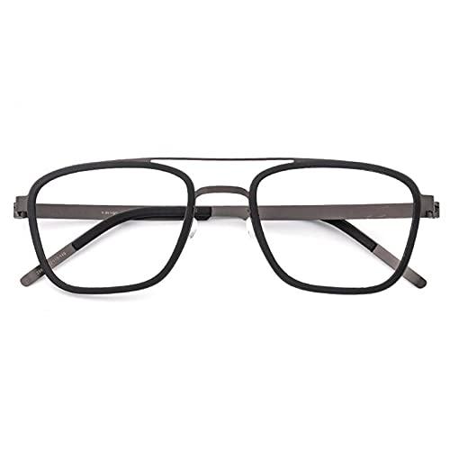 JUNZ +1,75 Vintage Piloto Gafas de Lectura para Hombre y Mujer, Marco Cuadrado Grande Bloqueo de Luz Azul Lentes de Lectura de Computadora,Tortuga,Negro