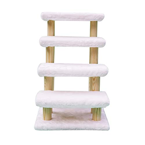 Cowboy Wooden pet Stairs 4-Step pet Ladder cat Dog Easy Stairs with Detachable Carpet for high Bed and Couch (White)