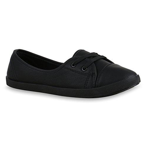 stiefelparadies Damen Sportliche Ballerinas Schuhe 137699 Schwarz Glatt 36 Flandell