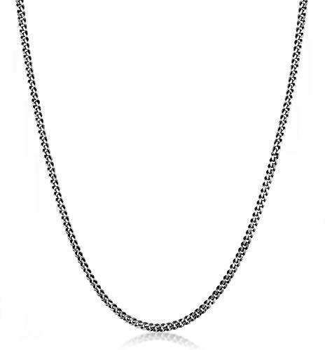 Kuzzoi Exklusive Herren Halskette mit Panzer Glieder (5 mm) oxidiert für Anhänger, Massive Kette für Mann oder Freund, Robuste Herrenkette aus 925 Sterling...