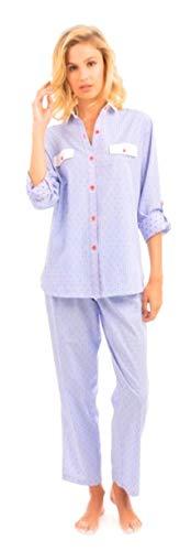 LOHE Pijama plumeti algodón Azul XL
