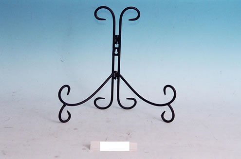 "Decorative Black Wrought Iron 12"" Plate Stand Easel"