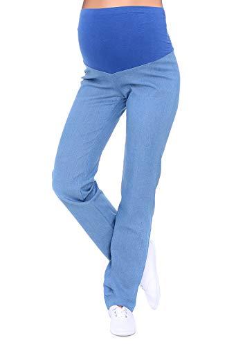 Mija - Klassische Komfortable Schwangerschaftshose Denim Umstandsjeans mit Bauchband 3014 (44, Hellblau Denim)