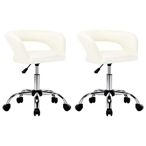 Tidyard Sillas de Comedor 2 Unidades Silla de Salón Giratoria & Regulable en Altura I Silla de Espera con Respaldo Cuero sintético Blanco