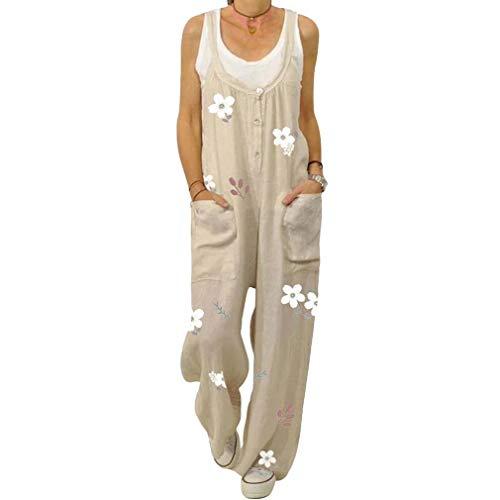 Latzhose Damen Jumpsuit mit Träger Taschen Retro Einreiher Overalls Sommer Lose Hose Lange Baggy Sommerhose Blumen Playsuit Romper