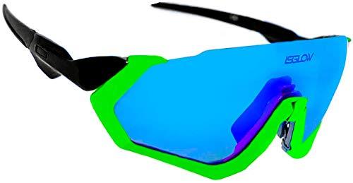 Gafas ciclismo hombre. Polarizadas Flight Jacket. 4 Lentes intercambiables,antivaho, resistentes a impactos.Protección UV400. Ideales para Running, Esquí, Golf, mtb, Triatlon, Ciclismo (Amarillo)