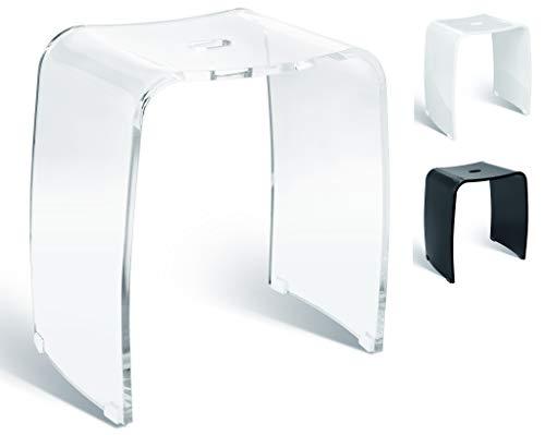 Libaro Meran - Taburete de baño (acrílico, con asa, antideslizante, con patas de goma), color transparente