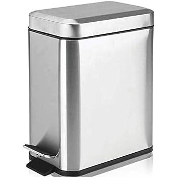 color plateado Relaxdays Cubo de basura//papelera con pedal hecho de acero inoxidable con medidas 25,5 x 17 x 19,5 cm 3 L higienico practico moderno