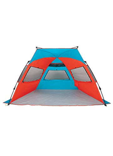 RBX XL Quick Setup Family Size Beach And Activity Tent | Water Resistant | Sun Shelter (Red and Blue)