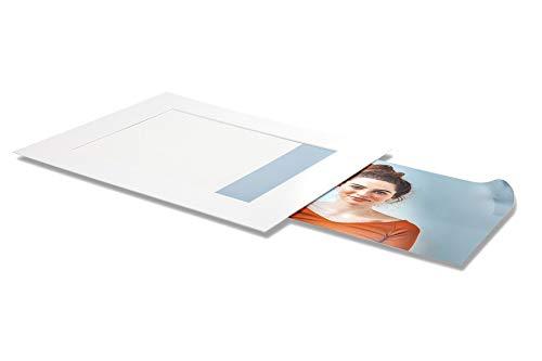 AlphaUVplus - Einsteck Passepartouts - Reinweiß - 20 Stück - Außen: 18x24cm / für Foto: 13x19cm - mit verklebter Rückwand und Foto-Einschub - Slip-In - Museumsqualität