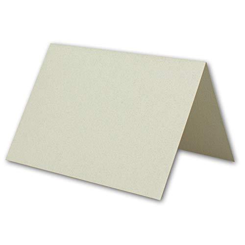 DIN B6 vouwkaarten 12 x 17 cm met reliëf - gemêleerde blanco dubbele kaarten met echte viltmarkering - natuurlijk wit met donkere vezels 300 Stück Natuurlijk wit gemêleerd