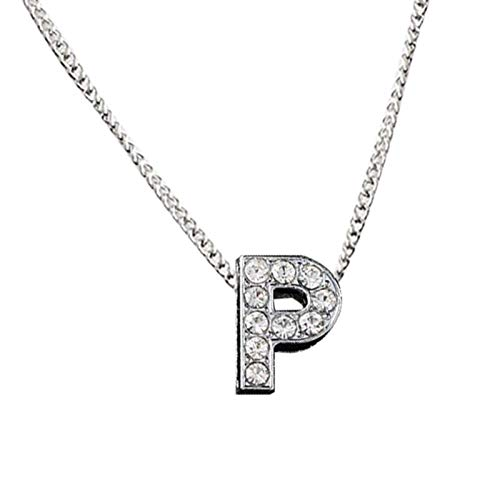 Women Fashion Elegant Glitter Rhinestone Inlaid 26 Letter Charm Chain Clavicle Necklace Couple for Party Holiday Jewelry Gift - Silver P