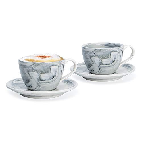 Hausmann & Söhne Cappuccino Tassen dickwandig   Set 4-TLG.   2er Set Schwarze Marmor Tassen mit Untertasse   Porzellan   Tasse 170 ml (210 ml randvoll)   Tassen mit Untersetzer   Geschenkidee