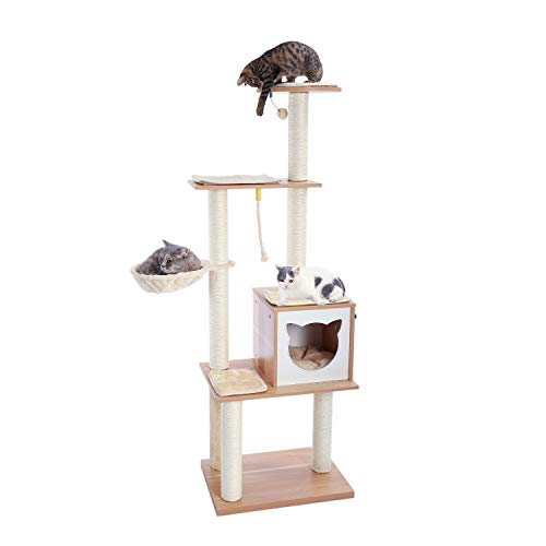 Made4Pets 65.6 Inches Modern Cat Tree 6 Levels Cat Tower with Sturdy Scratching Posts, Large Condo,...