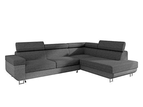 Ecksofa mit Schlaffunktion und Bettkasten Fonti, Eckcouch für Wohnzimmer, Einstellbare Kopfstützen, Sofa des Typs L, Bettfunktion, Wohnlandschaft (Lux 05 + Lux 06, Seite: Rechts)