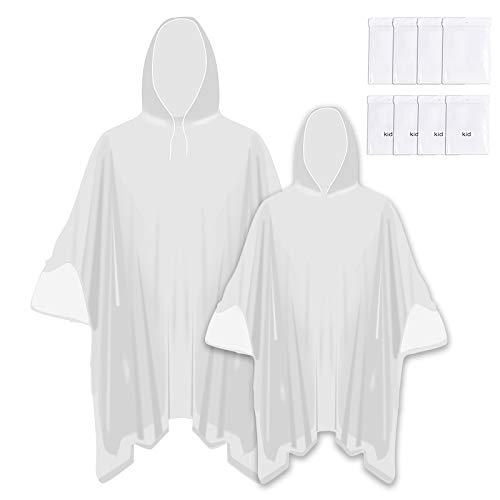Opret Family Pack Rain Ponchos, Disposable Rain Ponchos for Adults and Kids Transparent Waterproof Ponchos Lightweight Raincoat with Hood for Theme Park, Pack of 8