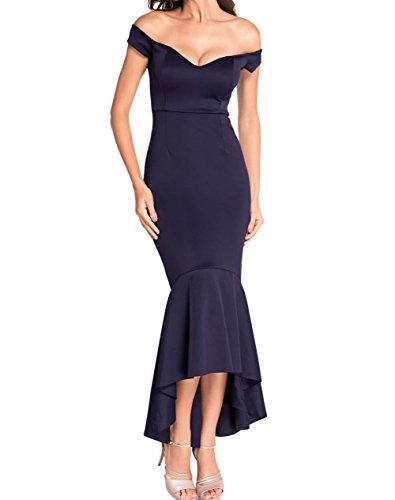 LETSDO Off Schulter Nixe Jersey Abendkleid (M Größe Kann Nur die Größentabelle Folgen), Kastanienbraun)