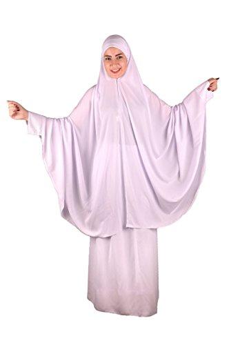 Zweiteiliges Khimar Rock Set (Tscharschaf Set) Sunna Islamische Kleidung Gebetskleidung Einheitsgröße, weiß