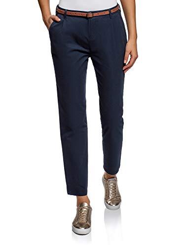 Oodji Ultra Mujer Pantalones Chinos Básicos, Azul, ES 40 / M