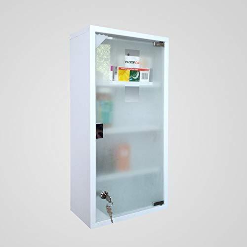 HS-Lighting – Botiquín de medicina, acero inoxidable, con cierre, para primeros auxilios, puerta de cristal con cerradura, incluye 2 llaves, 60 x 30 x 12 cm